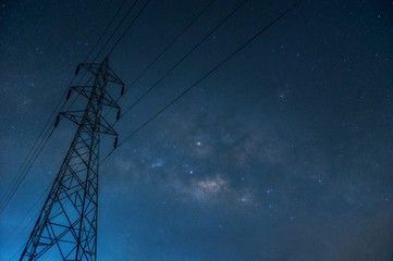 Fototapeta silhouette high voltage pole obraz
