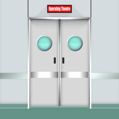 Operation Room Door. Vector Illustration
