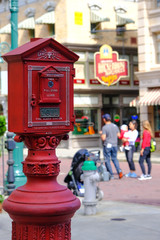 Red mail box in universal studio with tourism