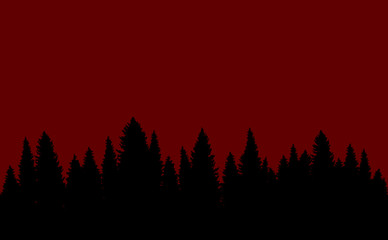 In de dag Bruin Forest landscape seamless red background silhouette pattern