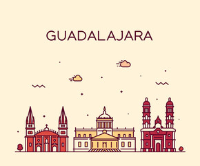Wall Mural - Guadalajara skyline Jalisco Mexico a vector linear
