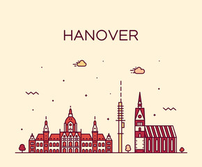 Wall Mural - Hanover skyline Lower Saxony Germany vector linear