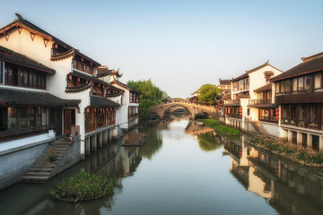 Ancient Qibao water district in Shanghai on the canals. China.