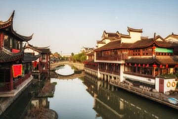 Qibao district in Shanghai at the sunset. China.