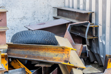 Scrap metal pieces stored for recycling