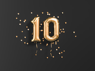 10 years old. Gold balloons number 10th anniversary, happy birthday congratulations. 3d rendering. Wall mural