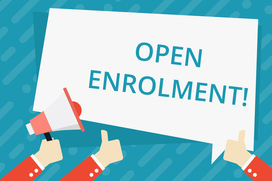 Text sign showing Open Enrolment. Business photo showcasing period during which members can choose an alternate plan Hand Holding Megaphone and Other Two Gesturing Thumbs Up with Text Balloon