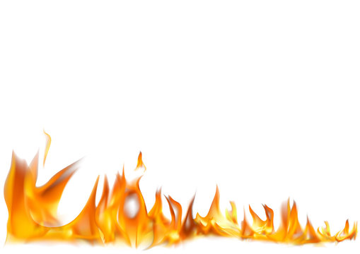 Realistic Fire Flames on White Background - Detailed Illustration for Your Graphic Projects, Vector