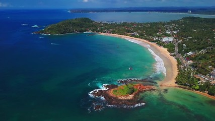 Wall Mural - Aerial view of the town of Mirissa and its beaches. Sri Lanka