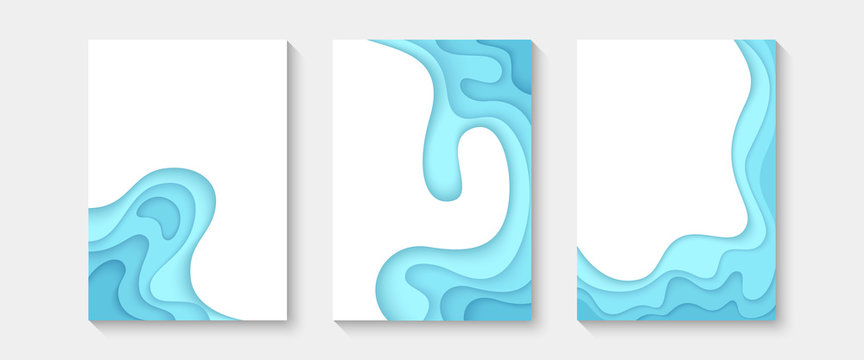 Abstract paper cut covers. Vertical banners, brochures, posters. Blue and turquoise color. Simple realistic design. Beautiful background. Flat style vector illustration.