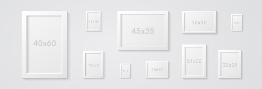 Picture frames set isolated on a wall. White color. Realistic modern template. Mock up for pictures or photo. Beautiful minimal clean design. Eps 10 vector illustration.