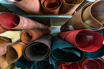 Raw genuine vegetable  tanned leather show on shelf