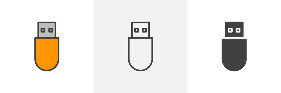 Usb stick icon. Line, glyph and filled outline colorful version, Flash drive pen outline and filled vector sign. Symbol, logo illustration. Different style icons set. Vector graphics