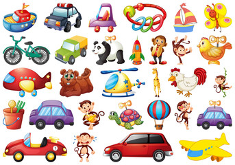 large set of toys