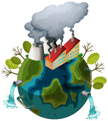 Wall Mural - An polluted earth icon