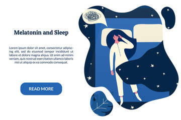 Female insomniac lying in bed at night. Tired woman suffer from sleeping disorder, insomnia, nightmare, sleeplessness. Sleepy character trying to fall asleep. Melatonin and sleep banner template.