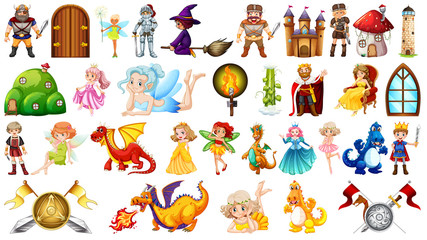 Printed kitchen splashbacks Kids Set of fantasy character