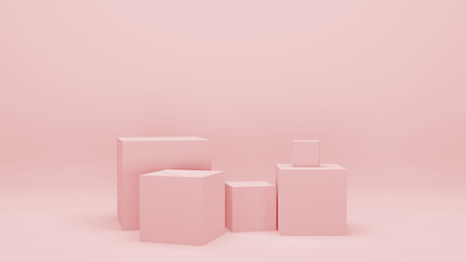 Pink empty room with geometric shapes, stands and empty walls, realistic 3d illustration. Minimalist blank scene with squares, modern graphic design.