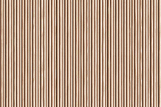 Brown ribbed wooden wall panel texture background.