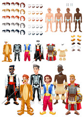 Fotobehang Kinderkamer Dresses and hairstyles game with male avatars