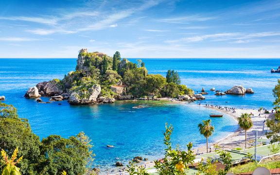 Isola Bella small island near Taormina, Sicily, southern Italy