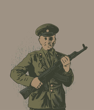 Lieutenant of the Soviet Army with kalashnikov and a smile.  Vector illustration