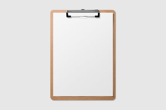 Mockup of wooden clipboard with blank paper isolated on light grey background.