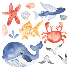 Watercolor set with cute cartoon kids underwater creatures. Illustrations for invitations, party decorations, for print, craft projects, blogs, baby shower, travel.