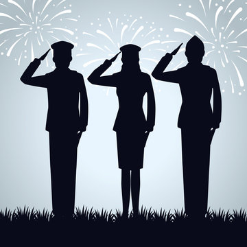 group of military people silhouettes