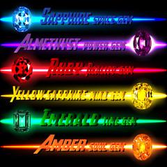 6 Gems on 6 Line Color background. Vector illustration