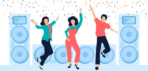 Party festive poster with people, loudspeakers and confetti. Flat style design.