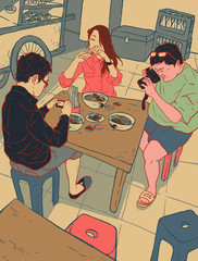 Illustration of people taking pictures of food in Chinese restaurant