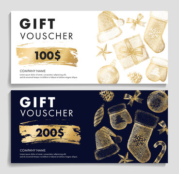 Gift voucher with Christmas pattern in golden colors