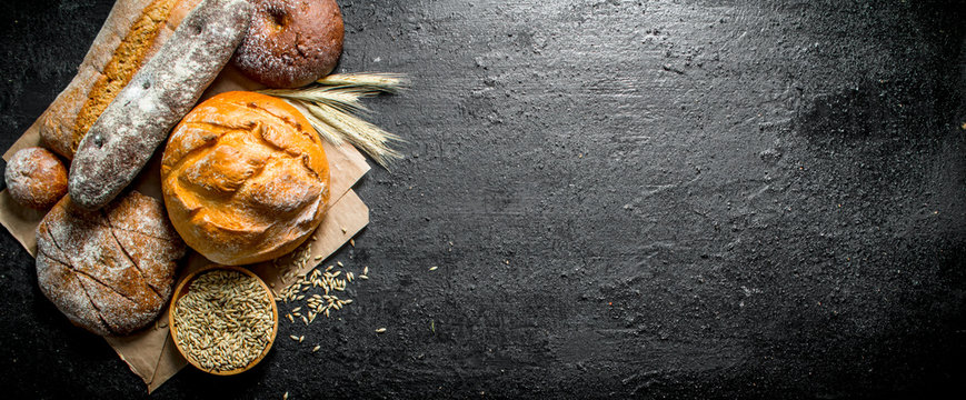 The range of different types of bread from rye and wheat flour.