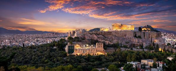 Fototapete - Panorama der beleuchteten Akropolis von Athen, Griechenland, nach Sonnenuntergang am Abend