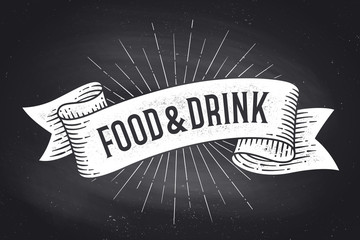 Food and Drink. Old school vintage ribbon banner