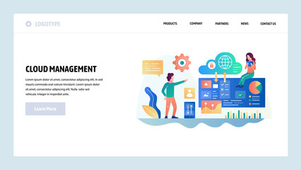 Vector web site design template. Cloud computing technology and secure storage. Cloud management. Landing page concepts for website and mobile development. Modern flat illustration