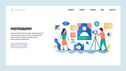 Vector web site design template. Photo studio, photography service, digital camera. Landing page concepts for website and mobile development. Modern flat illustration