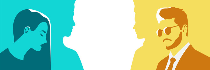 Man in a suit and woman. Silhouette of human. Stylized retro style. Pop art people. Side view in profile. Colorful template. Simple realistic minimal design. Love. Flat style vector illustration.