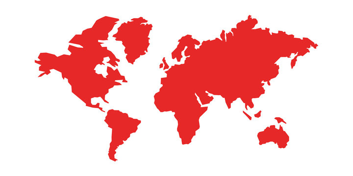 World map isolated. Low poly stylized map. Simple cartoon design. Simplified minimal style. Red color. Flat style vector illustration.