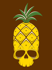 creepy vector illustration of a pineapple skull