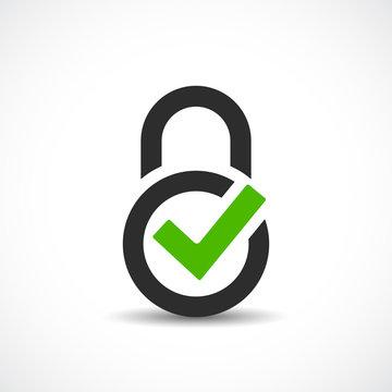 Lock ok vector icon