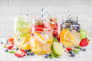 Fototapeta Various fruit and berry lemonade obraz