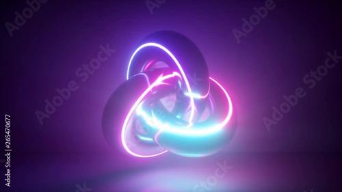 3d render, abstract background, neon light glowing, torus