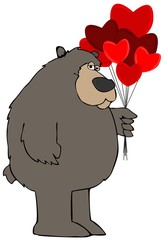 Black bear holding heart balloons