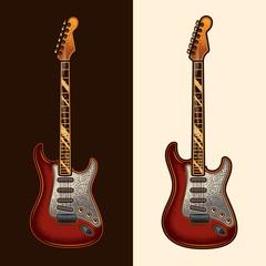 Electric guitar. Original vector illustration in vintage style. Design element.