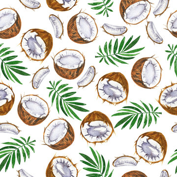 Seamless pattern with tropical coconut and palm tree leaves on white background. Hand drawn watercolor illustration.