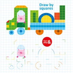 Draw by Squares Pig in Color Car Art Kid Game