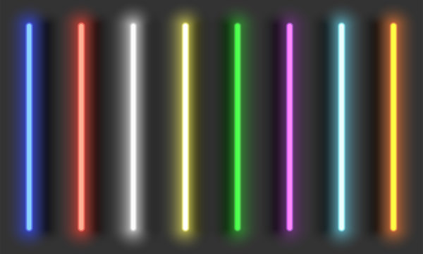 Neon light brushes with shadows, fully adjustable various colors neon design elements, colorful light tubes set on dark background