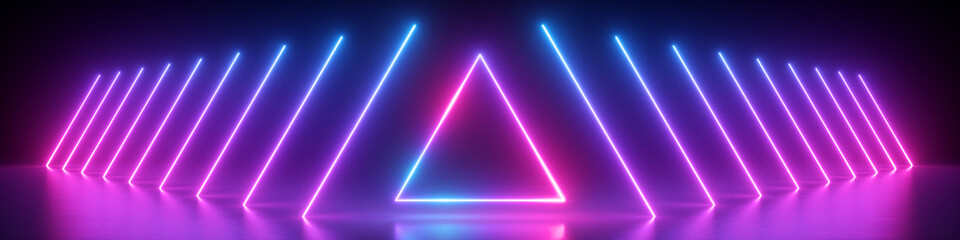 3d render, abstract panoramic background, neon light, glowing lines, triangle shape symbol, ultraviolet spectrum, virtual reality, laser show Wall mural